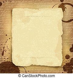 ősi, eps10, kézirat, hely, elvont, text., vektor, háttér