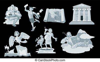 ősi, isten, görög, állhatatos, world., ajándék
