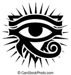 ősi, küllők, pattern., monochrom, háttér, sun., szem, illustration., fehér, horus, vektor, jelkép