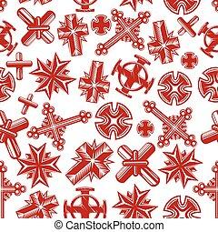 ősi, keresztény, motívum, seamless, feszületek, piros