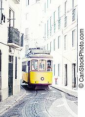 ősi, portugália, villamos, utcák, sárga, lisszabon