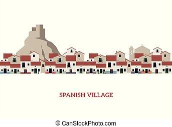 ősi, spanyol, ábra, háttér., vektor, falu, bástya, jellegzetes