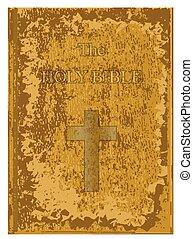 ősi, szent bible, kopott