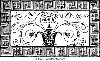 ősi, volutes, római, párizs, pittoresque, patterns., részletez, geometrikus, magazin, le, tervezés, 1840, foliated, elkészített, határ, mózesi, magasin