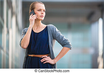 őstulok, hívás, smartphone, sima, portré, nő, fiatal