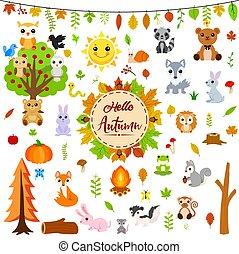 ősz, állatok, nagy, állhatatos, csinos