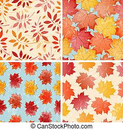 ősz, állhatatos, patterns., seamless