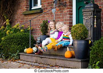 ősz, épület, gyerekek, nap, előcsarnok