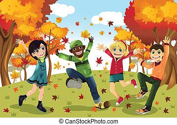 ősz, évad, gyerekek, bukás
