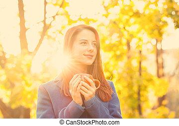 ősz, csörgőréce, leány, park., csésze
