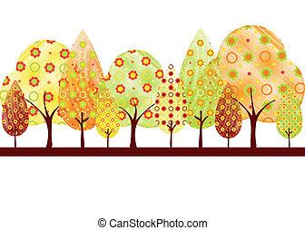 ősz, elvont, fa, köszönés kártya