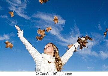 ősz, emelt, nő, fegyver, boldogság