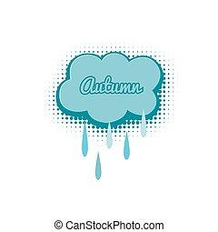 ősz, esőcseppek, felhő, ábra