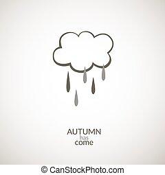 ősz, esőcseppek, felhő, ikon