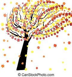 ősz, fa, felteker
