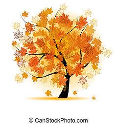 ősz, fa, levél növényen, juharfa, bukás