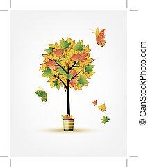 ősz, fa, tervezés, -e