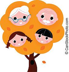 ősz, fehér, fa, elszigetelt, család