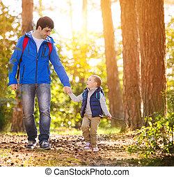 ősz, gyalogló, atya, erdő, fiú