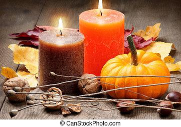 ősz, gyertya, beállítás, sütőtök