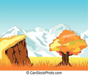 ősz, hegyek, hó