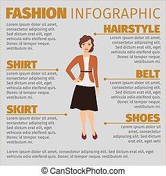 ősz, illeszt, leány, mód, infographic