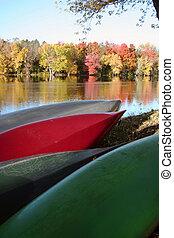 ősz, kenu, folyópart