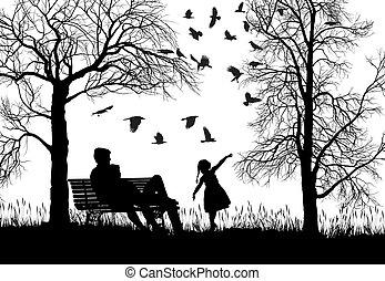 ősz, liget, young család