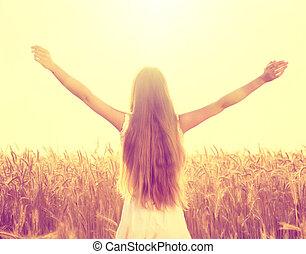 ősz, mező, leány, élvez, természet