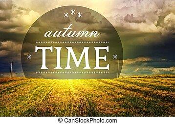 ősz, mező, napnyugta, idő, fű, táj