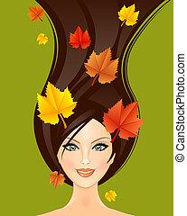 ősz, nő, ábra, vektor