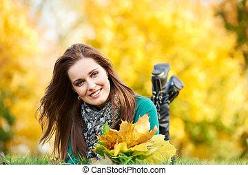 ősz, nő, szabadban