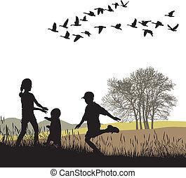 ősz, ország, gyerekek