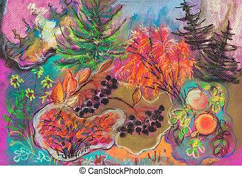 ősz, rajz, -, erdő, gyerekek