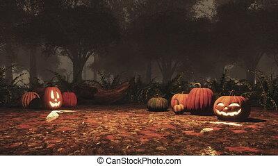 ősz, sütőtök, jack-o-lantern, erdő, éjszaka