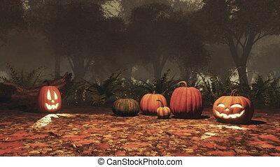 ősz, sütőtök, jack-o-lantern, erdő, szürkület