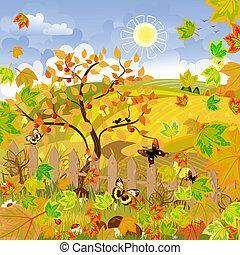 ősz, vidéki parkosít