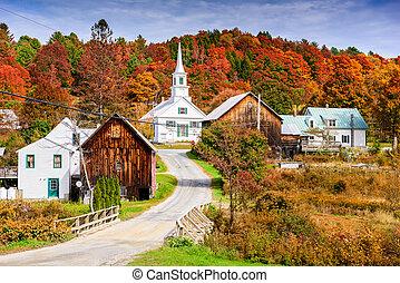 ősz, vidéki, vermont