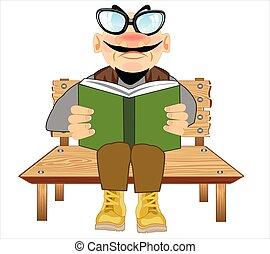 őt ül, bírói szék, ember, könyv, felolvas