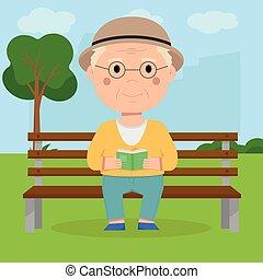 őt ül, könyv, liget, felolvas, nagyapó, bírói szék