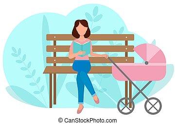 őt ül, liget, felolvas, concept., baby., neki, leány, vektor, book., szabadban, child., stroller., bírói szék, jár, anyu, fog