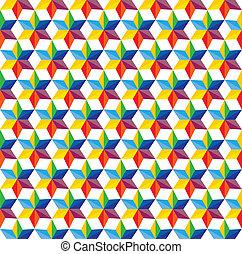 őt consists, színes, shapes-, különféle, hues, befest, csillag, seamless, vektor, &, zöld, graphic., sárga, alakzat, rózsaszínű, kék, piros, elvont, ismétlődő, narancs, háttér, ábra, szeret, ez