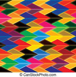 őt consists, színes, shapes-, különféle, hues, befest, seamless, vektor, &, zöld, graphic., sárga, hajít, nyílvesszö, alakzat, rózsaszínű, kék, piros, elvont, ismétlődő, narancs, háttér, ábra, barna, szeret, ez