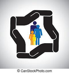 őt előad, grafikus, gyerekek, család, baleset, oltalom, s a többi, is, fogalom, biztonság, atya, vector., anya, health biztosítás, vagy