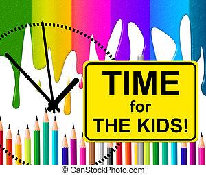 őt előad, pillanat, gyerekek, gyermekkor, idő