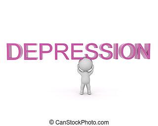 őt, felül, betű, mondás, 3, depresszió, szöveg