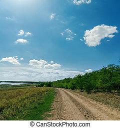 őt jár, ég, felhős, horizont, alatt, vidéki út