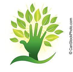 őt lap, jel, zöld, kéz, küllők