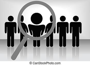 őt megvizsgál, megállapít, alkalmazás, s a többi, &, keres, pohár, magasztalás, személy, kiválaszt, people:, egyenes, alkalmaz, selects, vagy, elismerés, előléptetés
