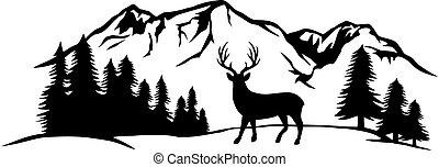 őz, hegy, ábra, vektor, táj, erdő